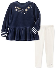 Little Girls 2-Pc. Ruffled Velour Top & Leggings Set