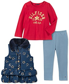 Little Girls 3-Pc. Ruffled Faux-Fur-Collar Vest, Logo Top & Leggings Set