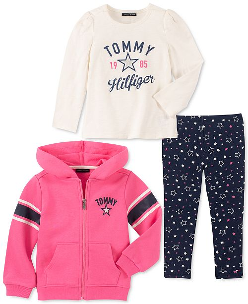 Tommy Hilfiger Little Girls 3-Pc. Fleece Hoodie, Logo Top & Printed Leggings Set