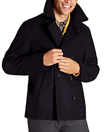 Men's Red Fleece Double Breasted Peacoat