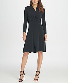 Long sleeve Jersey Side Ruche Fit & Flare Dress