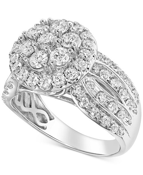 Macy's Diamond Halo Cluster Engagement Ring (1-3/4 ct. t.w.) in 14k White Gold