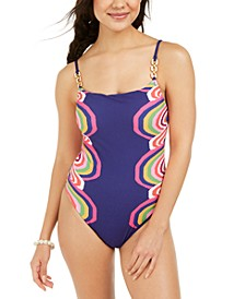 Rainbow Swirl Textured One-Piece Swimsuit