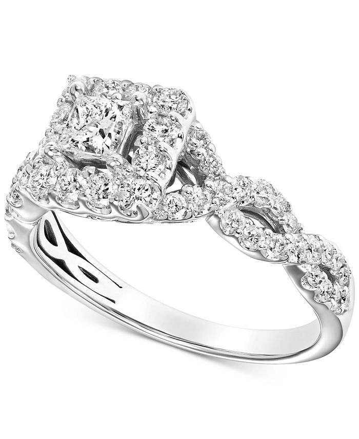 Macy's - Diamond Square Halo Braided Shank Engagement Ring (1 ct. t.w.) in 14k White Gold
