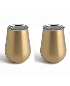 14oz Champagne Gold Stainless Steel Stemless Wine Glasses, Set of 2