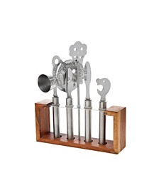 6 Pc Bartool Set Wood Stand