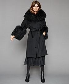 Lamb-Fur-Trim Coat