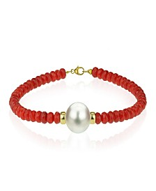 White Freshwater Cultured Pearl (11-12 mm) and Red Coral (16-1/2 ct. t.w.) Strand Bracelet in 14k Yellow Gold