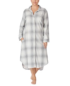 Plus Size Cotton Plaid Ballet Long Sleep Shirt