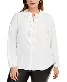 Trendy Plus Size Ruffled Button-Up Blouse, Created For Macy's