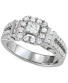Princess Halo Engagement Ring (1-3/8 ct. t.w.) in 14k White gold