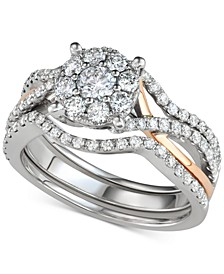3-Pc. Diamond Halo Openwork Bridal Set (1-1/7 ct. t.w.) in 14k White & Rose Gold