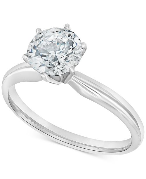Macy S Diamond Solitaire Engagement Ring 1 1 2 Ct T W In 14k White Or Yellow Gold Reviews Rings Jewelry Watches Macy S