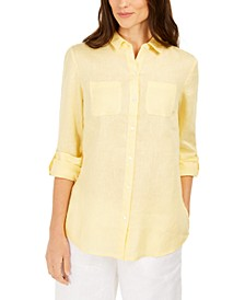Petite Linen Button-Front Shirt, Created for Macy's