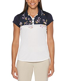 Floral-Print Colorblocked Golf Polo