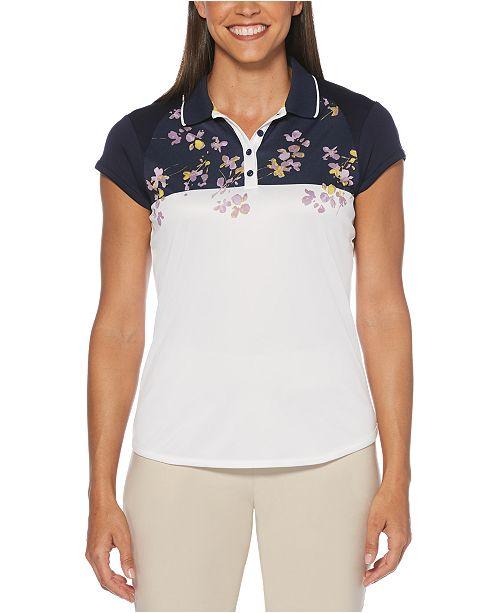 PGA TOUR Floral-Print Colorblocked Golf Polo