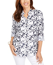 Petite Floral-Print Button-Front Linen-Blend Shirt, Created for Macy's