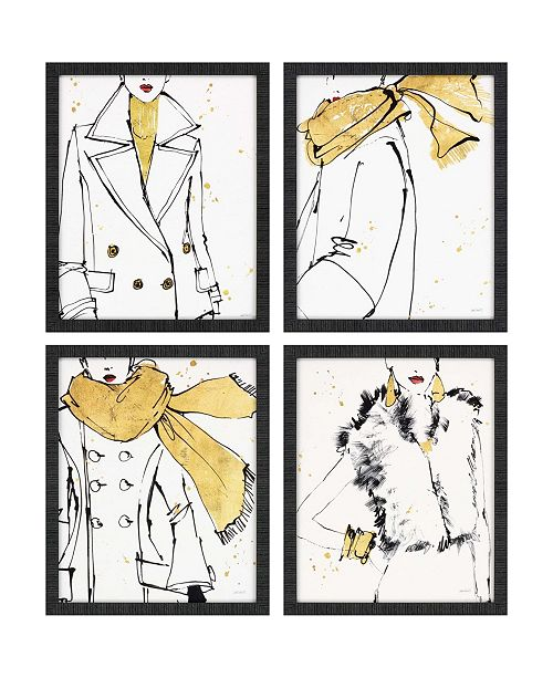 "Paragon Fashion Strokes Framed Wall Art Set of 4, 22"" x 18"""