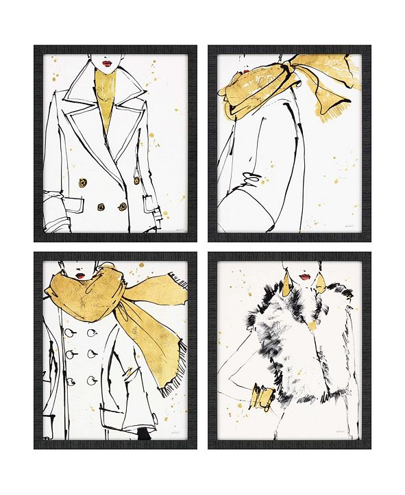 "Paragon Fashion Strokes Framed Wall Art Set of 4, 22"" x 18"""