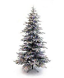 Pre-Lit Slim Flocked Christmas Tree with Warm White and Multicolor LED Lights Collection