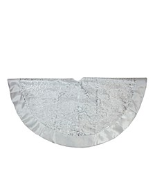 "48"" Silver Metallic Filigree Christmas Tree Skirt with Bows"