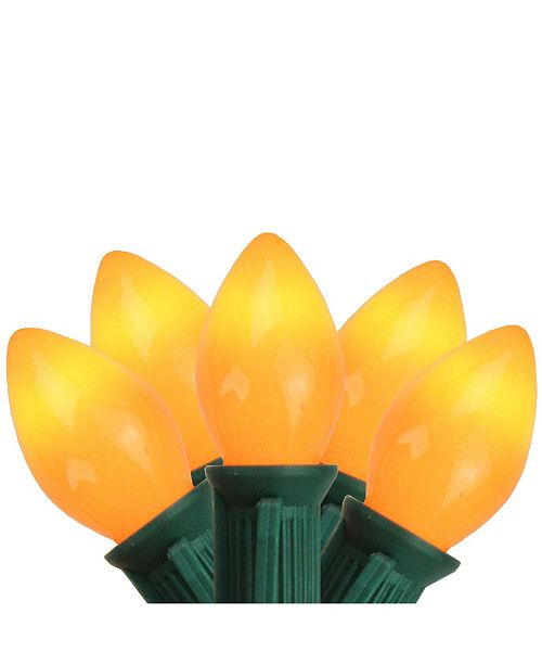 "Northlight Set of 25 Opaque Orange C7 Christmas Lights 12"" Bulb Spacing - Green Wire"