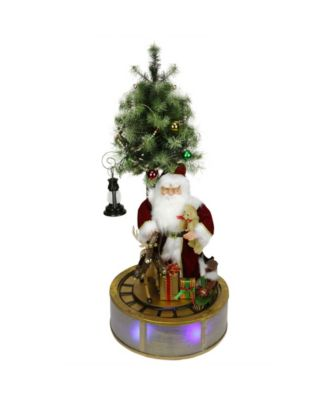 Northlight 4' Animated and Musical Lighted LED Santa Claus with Tree and Rotating Train Christmas Decor