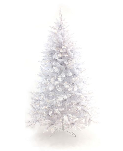 6 5 Pre Lit White Christmas Tree With Warm White Led Lights