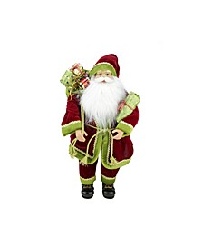 """24"""" Grand Imperial Red Green and Gold Standing Santa Claus Christmas Figure with Gift Bag"""