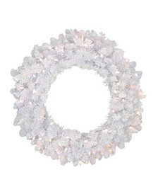Pre-Lit Flocked Snow White Artificial Christmas Wreath - 24-Inch Clear Lights