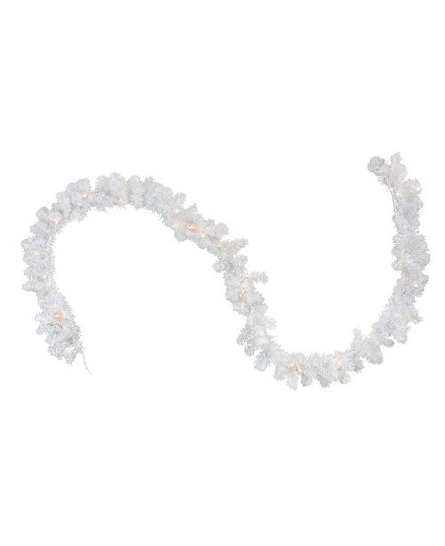 Northlight 9' Pre-Lit Snow White Artificial Christmas Garland - Clear Lights