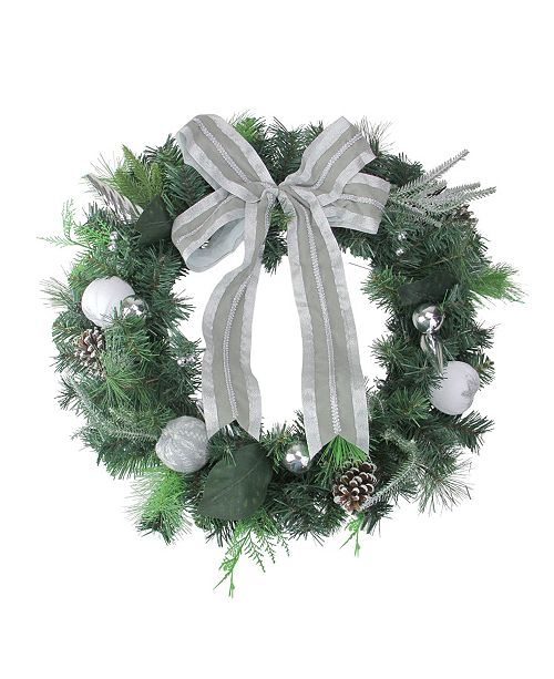 Northlight White and Silver Apple and Pine Cone Artificial Christmas Wreath - 24 inch Unlit