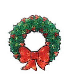 """15"""" Lighted Holographic Christmas Wreath Window Silhouette Decoration"""