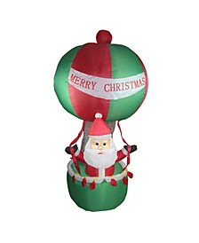 7' Inflatable Santa in Hot Air Balloon Lighted Christmas Outdoor Decoration