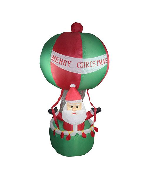Northlight 7' Inflatable Santa in Hot Air Balloon Lighted Christmas Outdoor Decoration