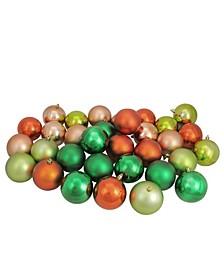 "32ct Xmas Green/Almond/Kiwi/Burnt Orange Shatterproof Christmas Ball Ornaments 3.25"""