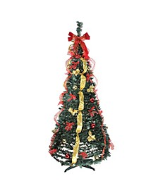 6' Pre-Lit Red and Gold Decorated Pop-Up Artificial Christmas Tree - Clear Lights
