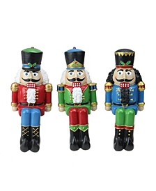 """Set of 3 Red Blue and Green Nutcracker Christmas Stocking Holders 7.5"""""""