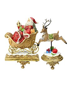 Set of 2 Santa and Reindeer Glittered Christmas Stocking Holders 9.5""