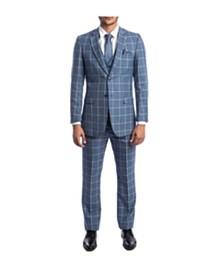 Tazio Men's Slim Fit Windowpane Notch Lapel Suit