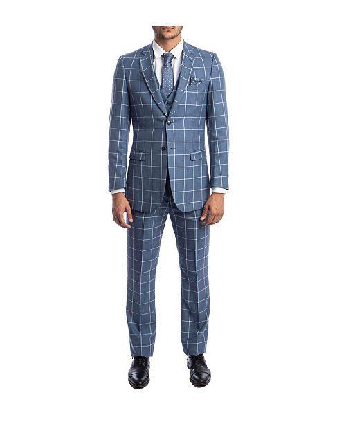 Tazio Men's Slim Fit Windowpane Notch Lapel Suit