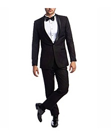 Men's Slim Fit Solid Satin Shawl Collar Tuxedo