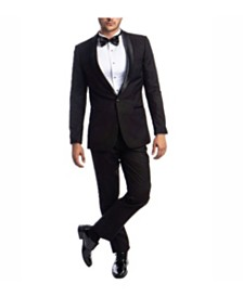 Azzuro Men's Slim Fit Solid Satin Shawl Collar Tuxedo