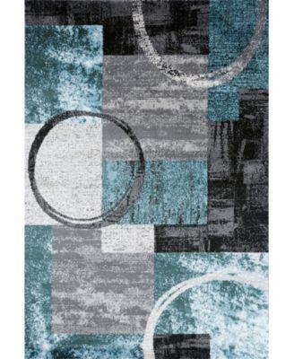 """Alba Alb307 Blue/Gray 3'3"""" x 5' Area Rug"""
