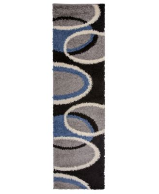 Home Knox Shag Ksh750 Blue 2' x 7' Runner Rug