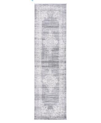 Lyon Lyn834 Gray 2' x 7' Runner Rug