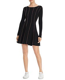 Striped Fit & Flare Sweater Dress