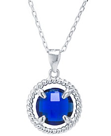 """Round Crystal Pendant with 18"""" Chain in Sterling Silver. Available in Clear or Blue"""