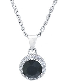 "Swarovski Crystal Round Halo Pendant With 18"" Chain in Sterling Silver. Available in Clear, Black, Blue, Light Blue or Red"