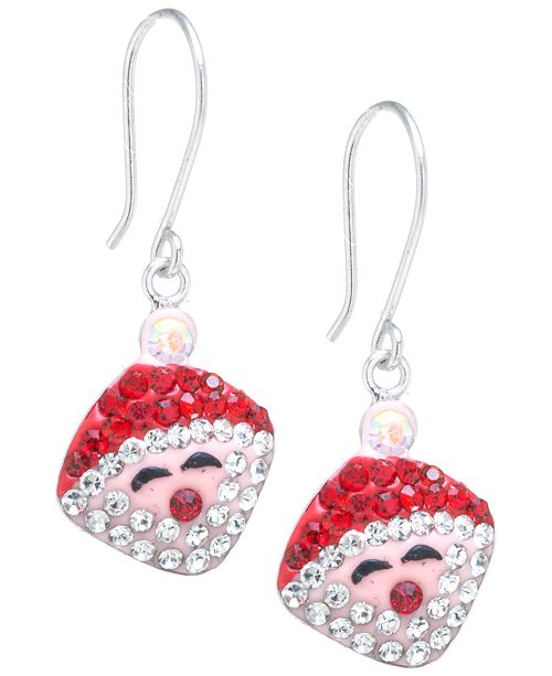 Macy's Pave Crystal Santa Claus Wire Drop Earrings set in Sterling Silver